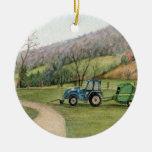 Ornamento del depositante del tractor adorno navideño redondo de cerámica