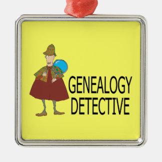 Ornamento del detective de la genealogía adorno navideño cuadrado de metal