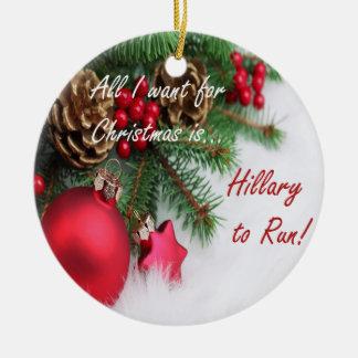 Ornamento del día de fiesta de Hillary Clinton Adorno Navideño Redondo De Cerámica