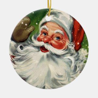 Ornamento del día de fiesta de Papá Noel del Adorno Redondo De Cerámica