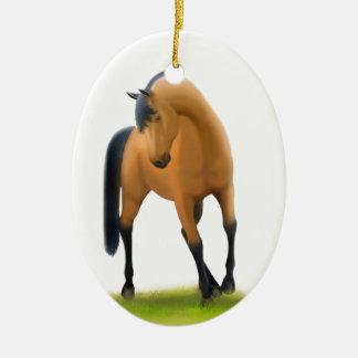 Ornamento del día de fiesta del caballo de la adorno navideño ovalado de cerámica