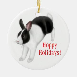 Ornamento del día de fiesta del conejo de conejito adorno navideño redondo de cerámica