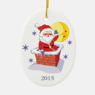 Ornamento del día de fiesta del navidad de la adorno ovalado de cerámica
