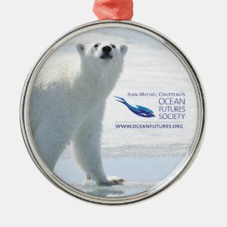 Ornamento del día de fiesta del oso polar adorno navideño redondo de metal