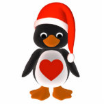 Ornamento del día de fiesta del pingüino de Santa Escultura Fotográfica
