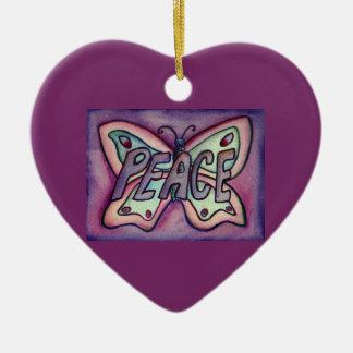 Ornamento del día de fiesta del regalo del arte de adorno navideño de cerámica en forma de corazón