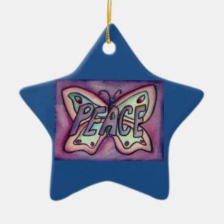 Ornamento del día de fiesta del regalo del arte de adorno navideño de cerámica en forma de estrella