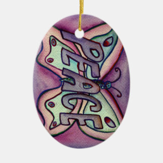 Ornamento del día de fiesta del regalo del arte de adorno navideño ovalado de cerámica