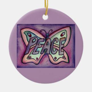 Ornamento del día de fiesta del regalo del arte de adorno navideño redondo de cerámica