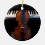 Ornamento del día de fiesta del violín y del tecla ornaments para arbol de navidad