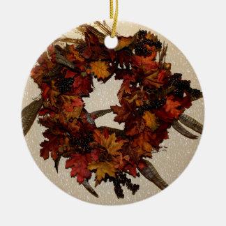 Ornamento del día de la acción de gracias adorno redondo de cerámica