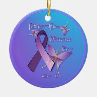 Ornamento del día de la conciencia del Fibromyalgi Ornamento Para Arbol De Navidad