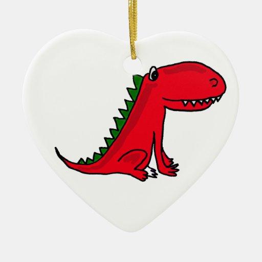 Ornamento del dibujo animado del dragón rojo y adorno de cerámica en forma de corazón