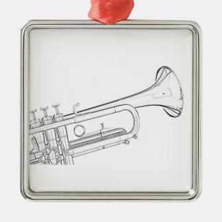 Ornamento del dibujo de la tinta de la trompeta adorno navideño cuadrado de metal