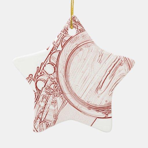 Ornamento del dibujo del saxofón adorno navideño de cerámica en forma de estrella