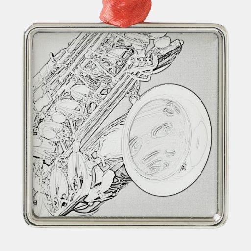 Ornamento del dibujo lineal del saxofón adorno navideño cuadrado de metal