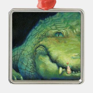 Ornamento del diente del navidad del cocodrilo adorno navideño cuadrado de metal
