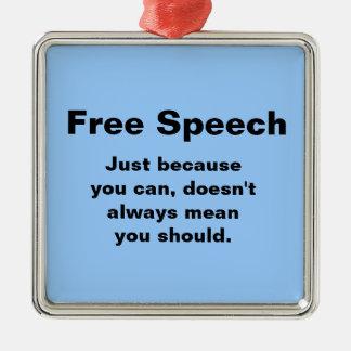 Ornamento del discurso libre adorno navideño cuadrado de metal
