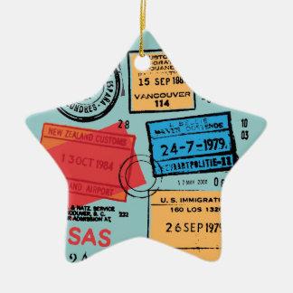 Ornamento del diseño de los sellos del pasaporte ornamentos de navidad