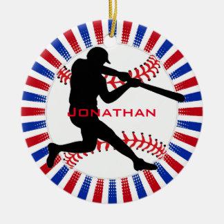 Ornamento del diseño del béisbol adorno navideño redondo de cerámica