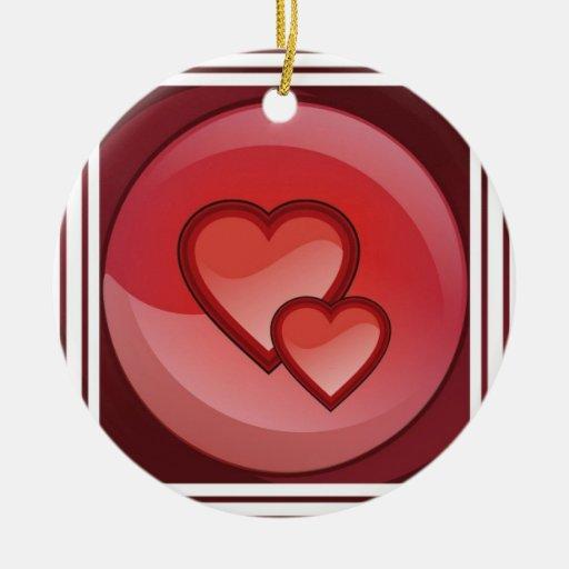 Ornamento del diseño del corazón adorno navideño redondo de cerámica