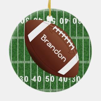 Ornamento del diseño del fútbol adorno navideño redondo de cerámica