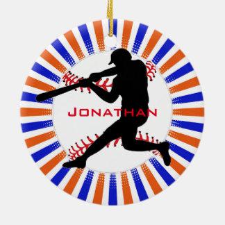 Ornamento del diseño del jugador de béisbol adorno navideño redondo de cerámica