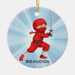 Ornamento del diseño del muchacho de Ninja Adorno Navideño Redondo De Cerámica