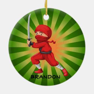 Ornamento del diseño del muchacho de Ninja Adorno Redondo De Cerámica