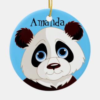 Ornamento del diseño del oso de panda adorno navideño redondo de cerámica