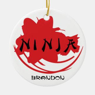Ornamento del diseño del símbolo de Ninja Adorno Navideño Redondo De Cerámica