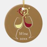 Ornamento del diseño del vino adorno navideño redondo de cerámica