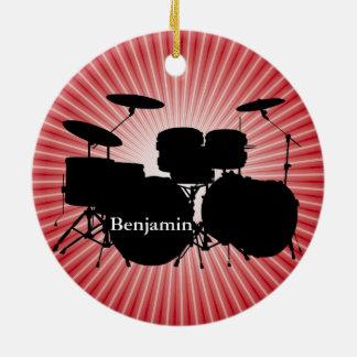 Ornamento del diseño determinado del tambor del adorno navideño redondo de cerámica