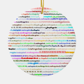 Ornamento del diseño II del texto de Los Ángeles Adorno Navideño Redondo De Cerámica