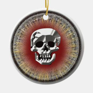 Ornamento del doblón del cráneo adorno navideño redondo de cerámica