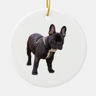 Ornamento del dogo francés, idea del regalo adorno navideño redondo de cerámica