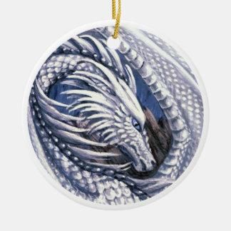 Ornamento del dragón del diamante adorno navideño redondo de cerámica