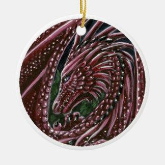 Ornamento del dragón del granate adorno navideño redondo de cerámica