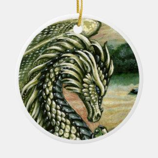 Ornamento del dragón del Peridot Adorno Navideño Redondo De Cerámica