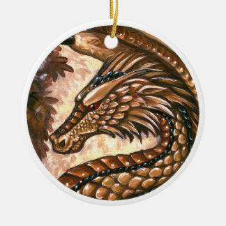 Ornamento del dragón del Topaz Adorno Navideño Redondo De Cerámica