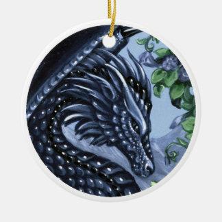 Ornamento del dragón del zafiro adorno navideño redondo de cerámica