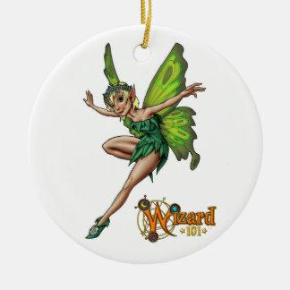 Ornamento del duendecillo adorno navideño redondo de cerámica