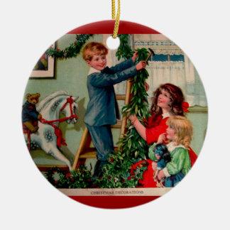 Ornamento del ejemplo del navidad del Victorian Adorno Redondo De Cerámica
