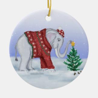 Ornamento del elefante del navidad adorno navideño redondo de cerámica