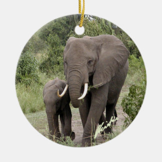 Ornamento del elefante y del becerro (2-sided) ornamento para arbol de navidad
