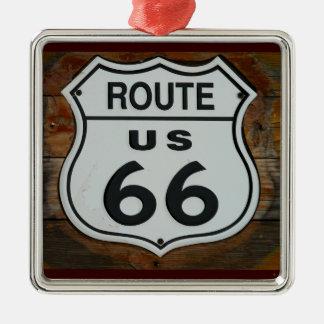Ornamento del escudo de la ruta 66 adorno navideño cuadrado de metal