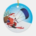 Ornamento del esquí de Santa Snowkite Ornamentos De Reyes Magos