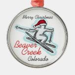 Ornamento del esquiador de Colorado santa del Beav Adorno De Navidad