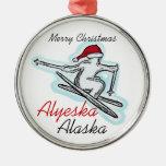 Ornamento del esquiador del gorra de Alyeska Alask Ornamento Para Reyes Magos