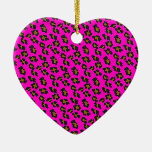 Ornamento del estampado de animales adorno navideño de cerámica en forma de corazón